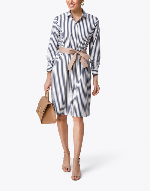 Peserico - Navy and White Striped Stretch Cotton Dress