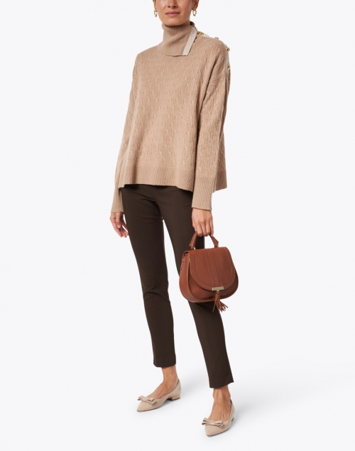 Cortland Park Birch Camel and Beige Cashmere Cable Sweater