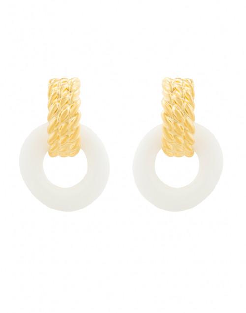 Kenneth Jay Lane - White Enamel Gold Doorknocker Clip Earrings