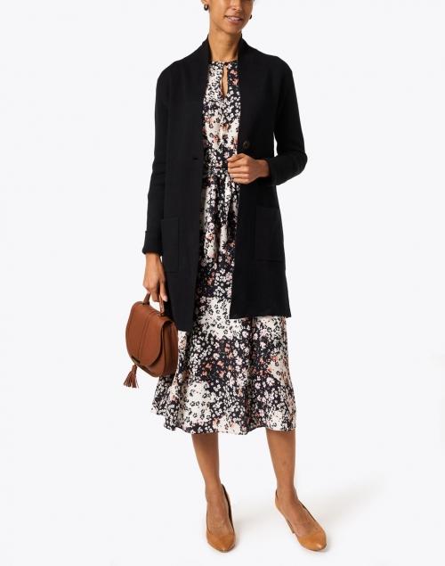 Burgess Harper Black Cotton Cashmere Cardigan Coat