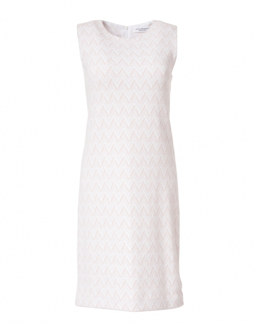 Amina Rubinacci - Elsi Pink and White Chevron Cotton Knit Dress