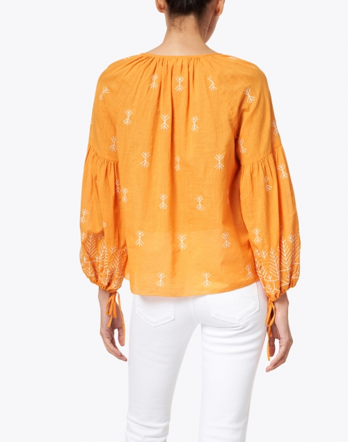 Megan Park - Elvia Yellow Gold Embroidered Cotton Blouse