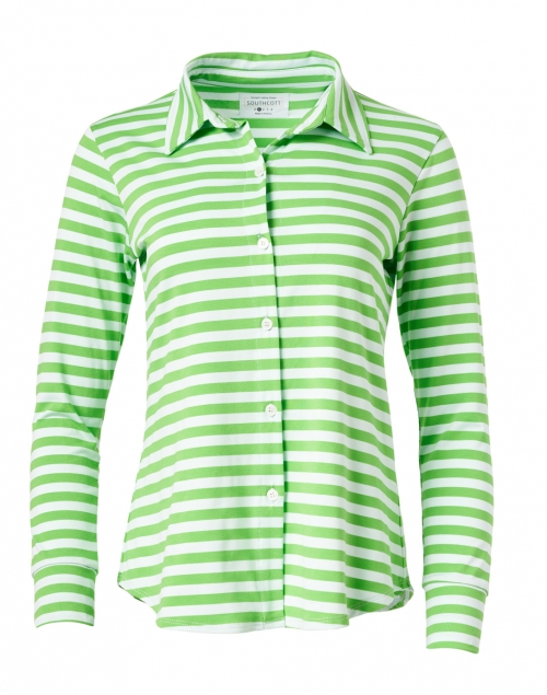 Southcott - Eastdale Green Striped Bamboo Cotton Top