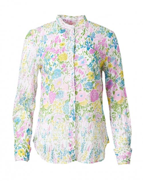 Banjanan Alfreda White Floral Printed Cotton Voile Shirt