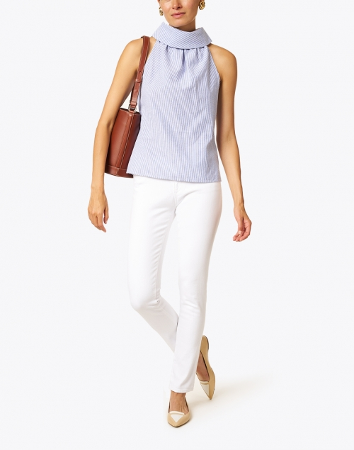 Sail to Sable - Navy and White Striped Seersucker Top