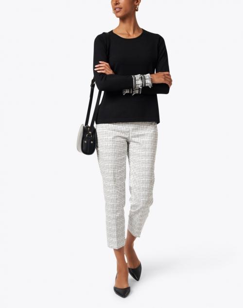 J'Envie - Black Knit Sweater with Fringe Detailing