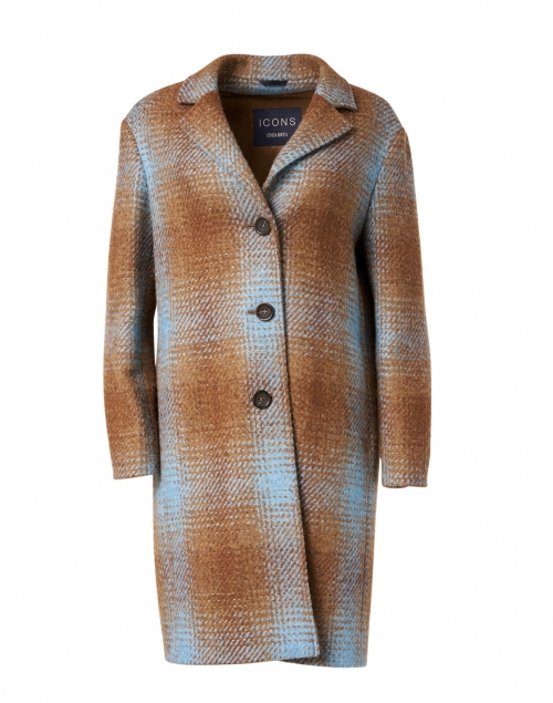 Cinzia Rocca Icons Camel and Blue Plaid Wool Blend Sequin Inlay Coat