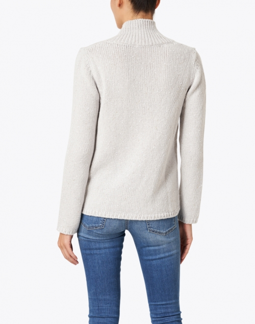 Leggiadro - Pale Grey Cotton Melange Cardigan