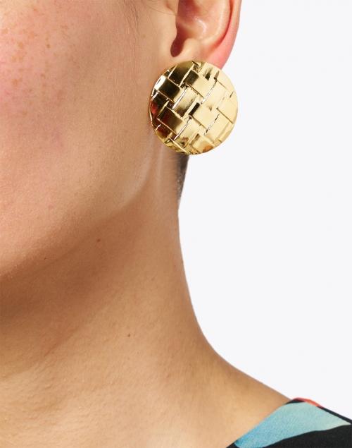Jennifer Behr - Gertie Gold Weave Circular Stud Earrings