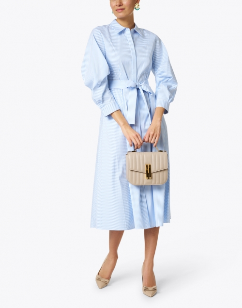 Lafayette 148 New York - Cailyn Blue and White Stripe Stretch Cotton Shirt Dress