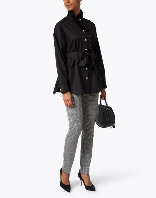 Hinson Wu - Michaela Black Ruffled Oversize Cotton Tunic
