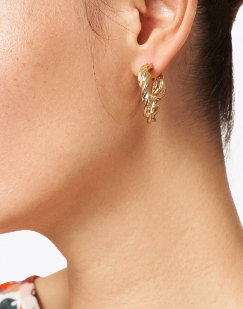 Loeffler Randall - Holly Gold Double Twisted Hoop Earrings
