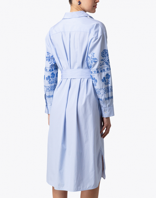Weekend Max Mara - Giga Light Blue and White Striped Embroidered Shirt Dress