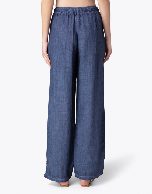 120% Lino - Dark Blue Linen Wide Leg Drawstring Pant