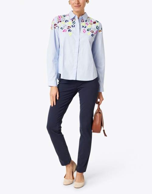 Vilagallo - Sonia Blue Poplin Cotton Shirt