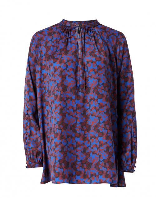 Marc Cain Blue Black and Brown Printed Blouse