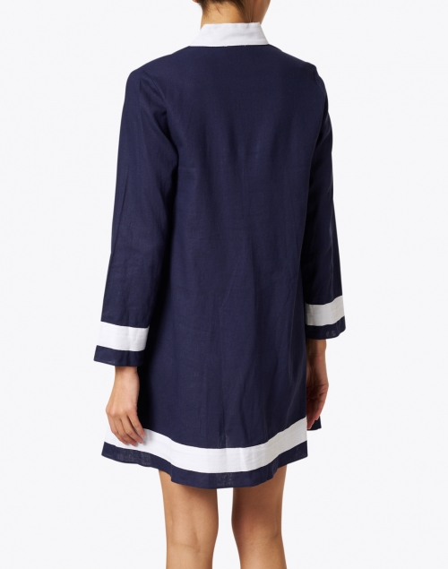 Sail to Sable - Navy and White Stretch Linen Tunic Dress