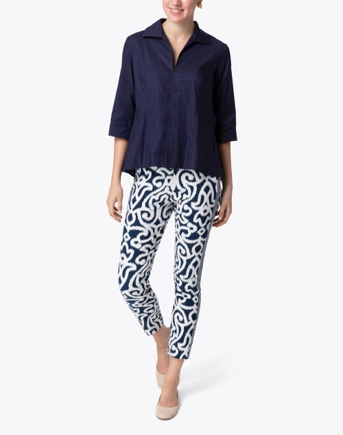 Gretchen Scott - Navy and White Mosaic Printed Pull On Pant
