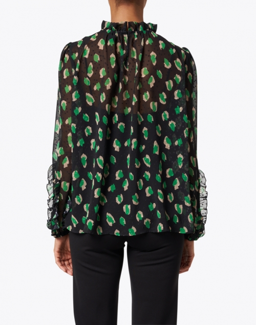 Marc Cain - Black and Green Print Sheer Blouse