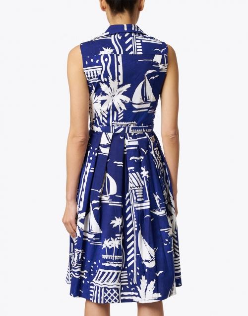 Samantha Sung - Audrey Admiral Blue Printed Stretch Cotton Dress