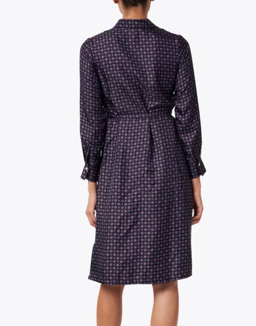 Rosso35 - Navy Print Silk Shirt Dress
