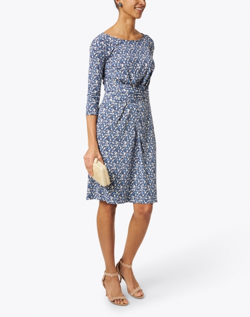 Weekend Max Mara - Acume Blue and White Floral Print Jersey Dress