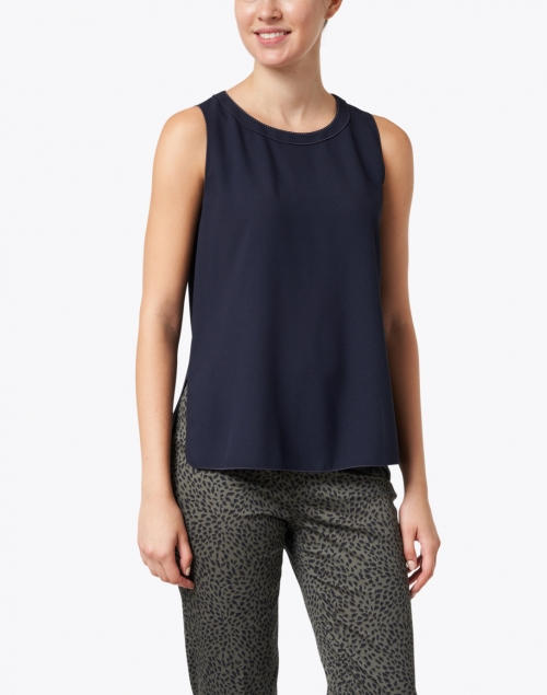 Piazza Sempione - Navy Top with Contrast Seams