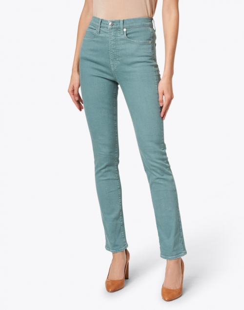 Veronica Beard - Ryleigh Teal High Rise Slim Straight Stretch Jean