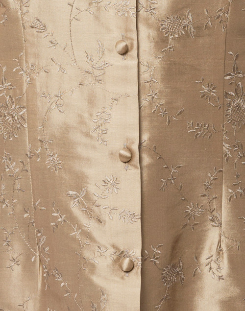 Connie Roberson - Rita Romance Taupe Embroidered Silk Top