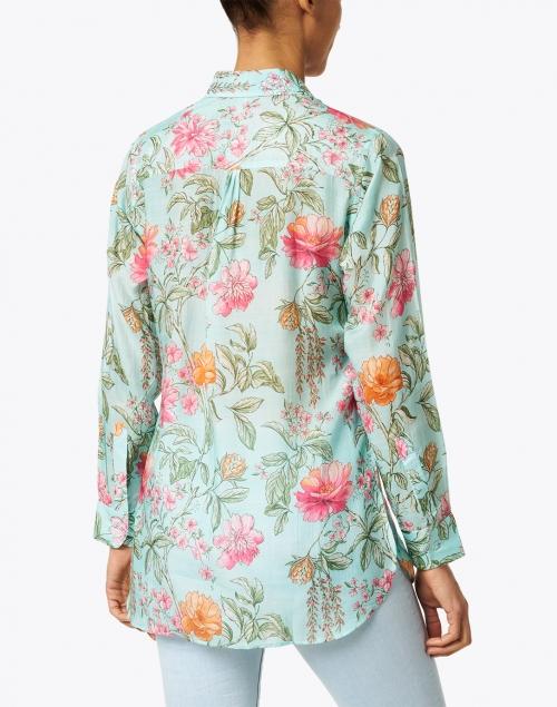 Bella Tu - Turquoise and Pink Floral Printed Shirt