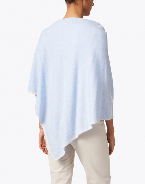 Kinross - Iris Blue and Grey Cashmere Poncho