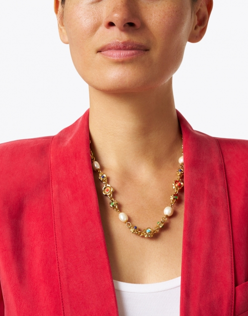 Kenneth Jay Lane - Gold Multicolor and Pearl Cabochons Flowers Necklace