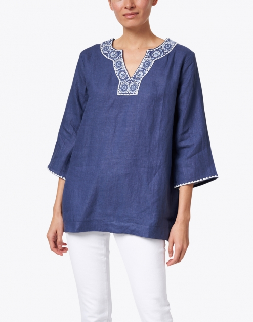 Pomegranate - Navy Medallion Embroidered Linen Tunic