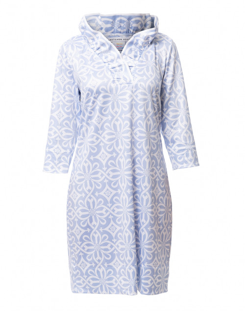 Gretchen Scott - Pale Blue Piazza Printed Ruffle Neck Dress