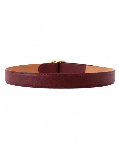 W. Kleinberg - Red Leather Calf Belt with Double Gold Rings