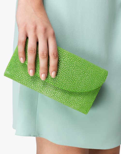J Markell - Baby Grande Spring Green Stingray Clutch