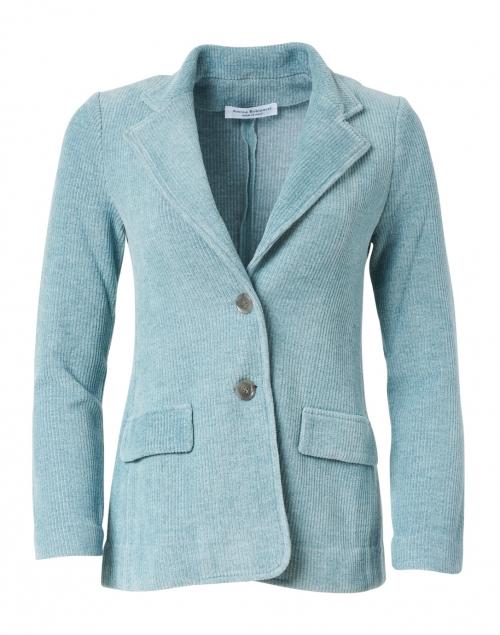 Amina Rubinacci - Voltaire Aquamarine Velvet Rib Knit Jacket