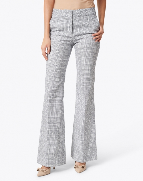 Piazza Sempione - Kate White and Blue Micro Check Wide Leg Pant
