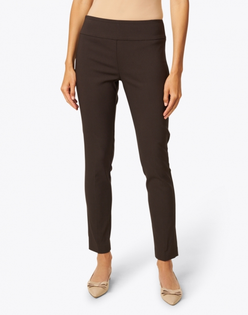 Elliott Lauren - Chocolate Brown Control Stretch Pull On Ankle Pant