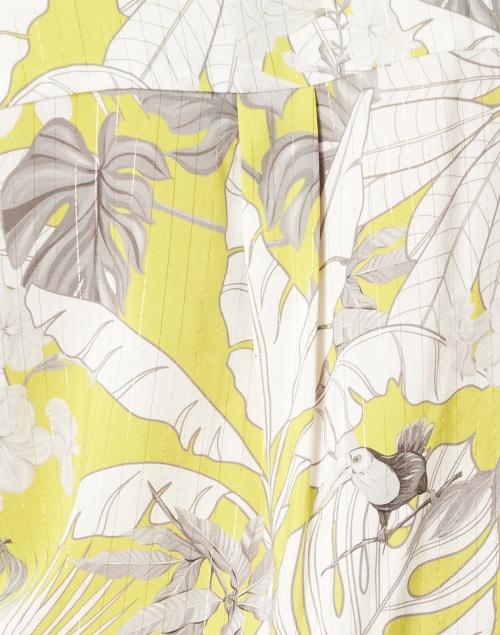 Vilagallo - Filippa Lime Green Lurex Palm Print Cotton Top