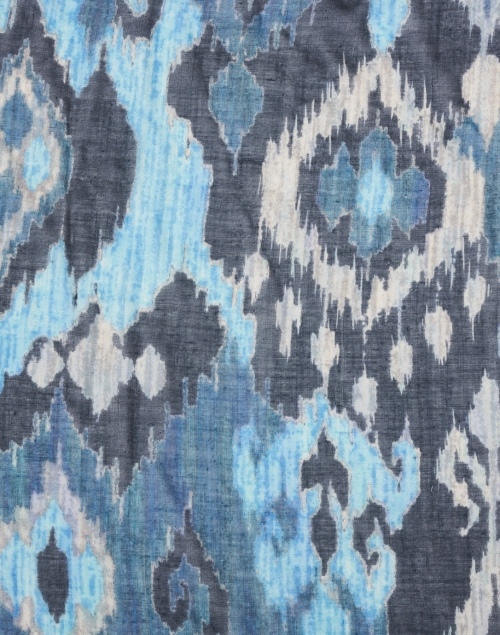 Pashma - Blue and Navy Ikat Silk Cashmere Scarf