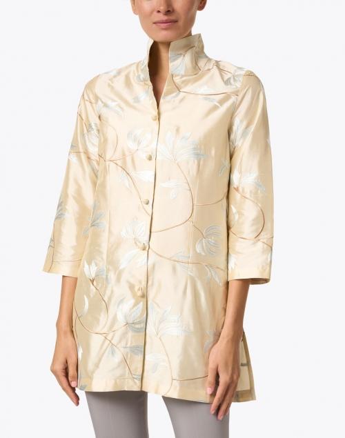Connie Roberson - Rita White Floral Cream Embroidered Silk Jacket