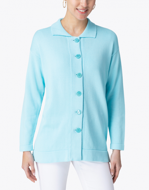 Leggiadro - Light Turquoise Cotton Knit Cardigan