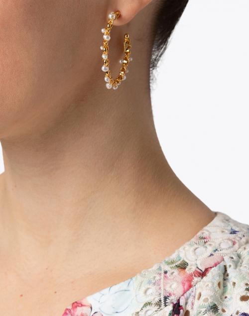 Gas Bijoux - Creole Orphee Pearl Beaded Hoop Earrings