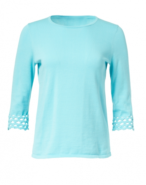 Kinross - Aqua Pima Cotton Crochet Cuff Top