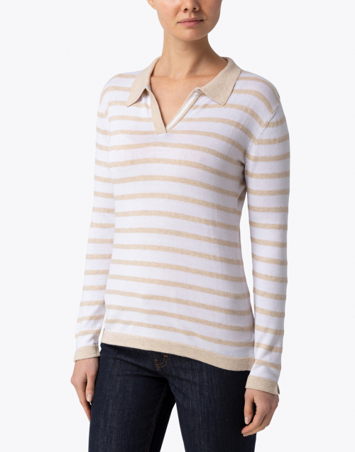 Blue - Beige and White Striped Pima Cotton Polo Sweater
