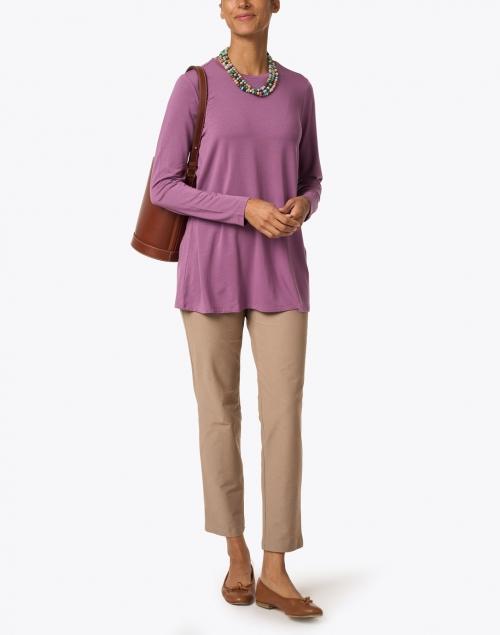 Eileen Fisher - Barley Beige Stretch Crepe Essential Slim Ankle Pant
