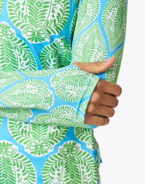 Gretchen Scott - Blue and Green Leaf Printed Stretch Top