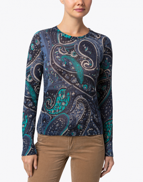 Pashma - Navy  and Blue Paisley Silk Cashmere Sweater