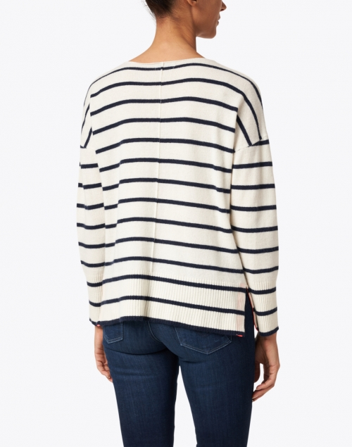 Cortland Park - Ivory and Navy Striped Cashmere Sweater